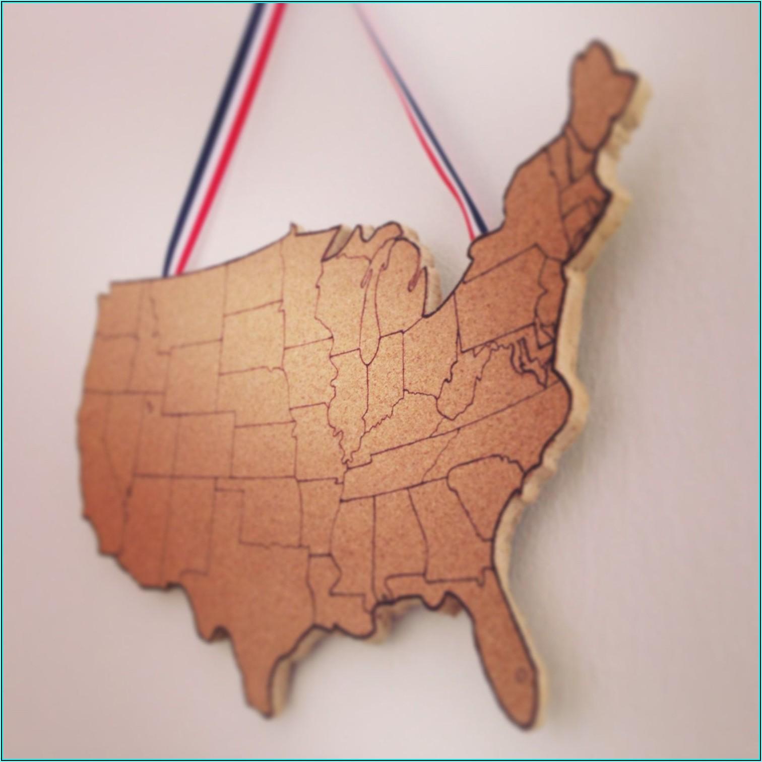 Usa Map On Cork Board