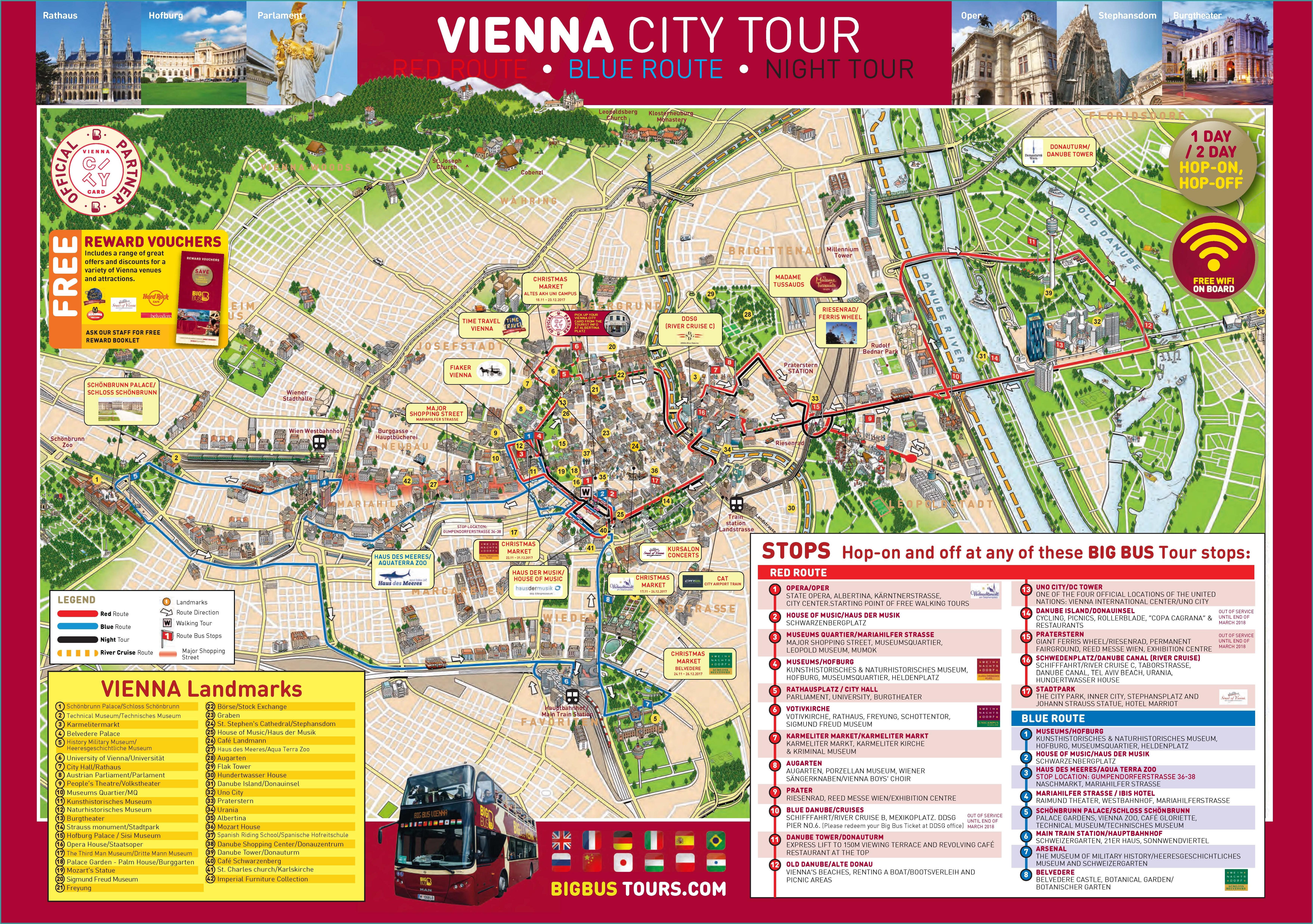 Vienna City Hop On Hop Off Tour Map