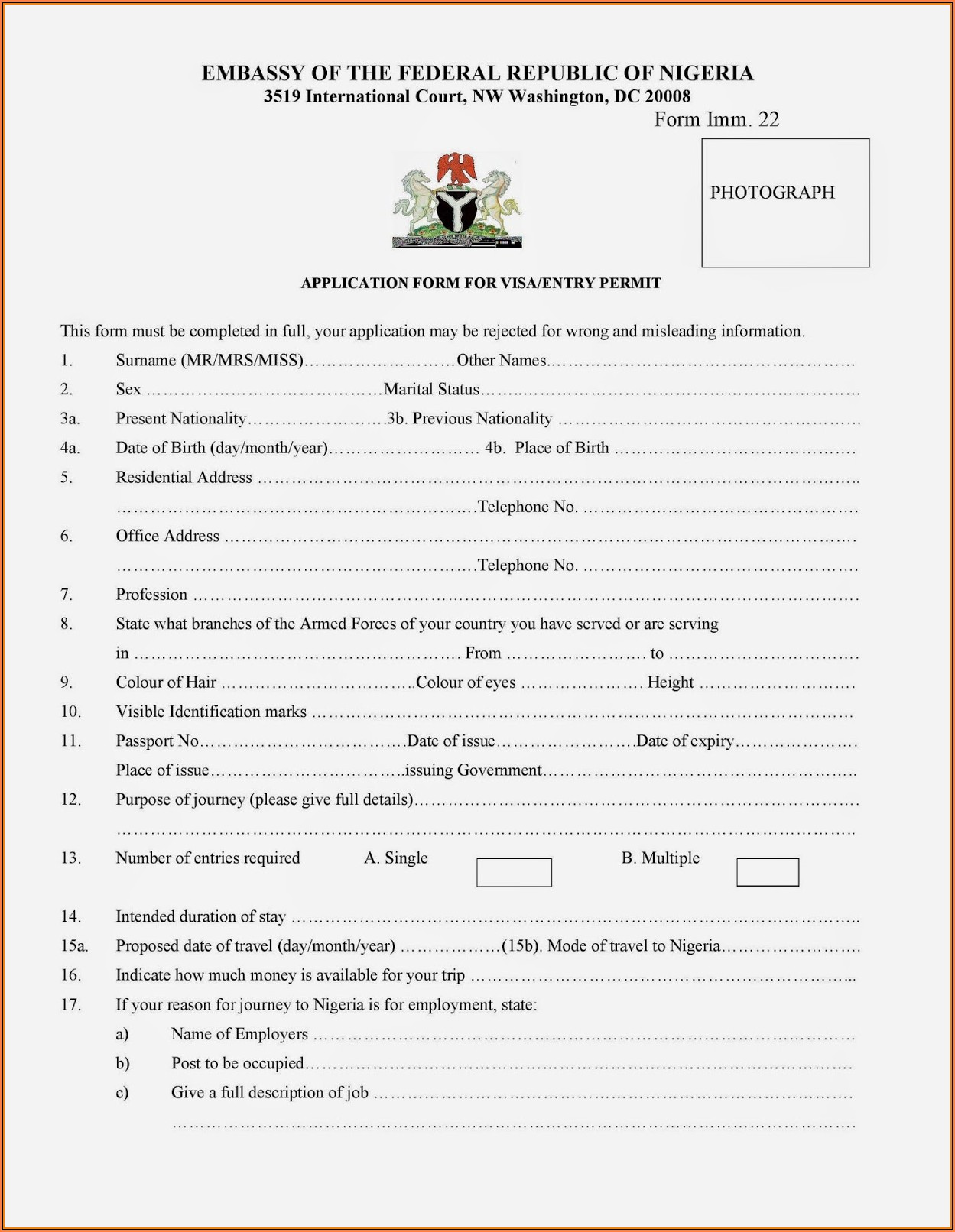 Visa Application Form Nigerian Embassy