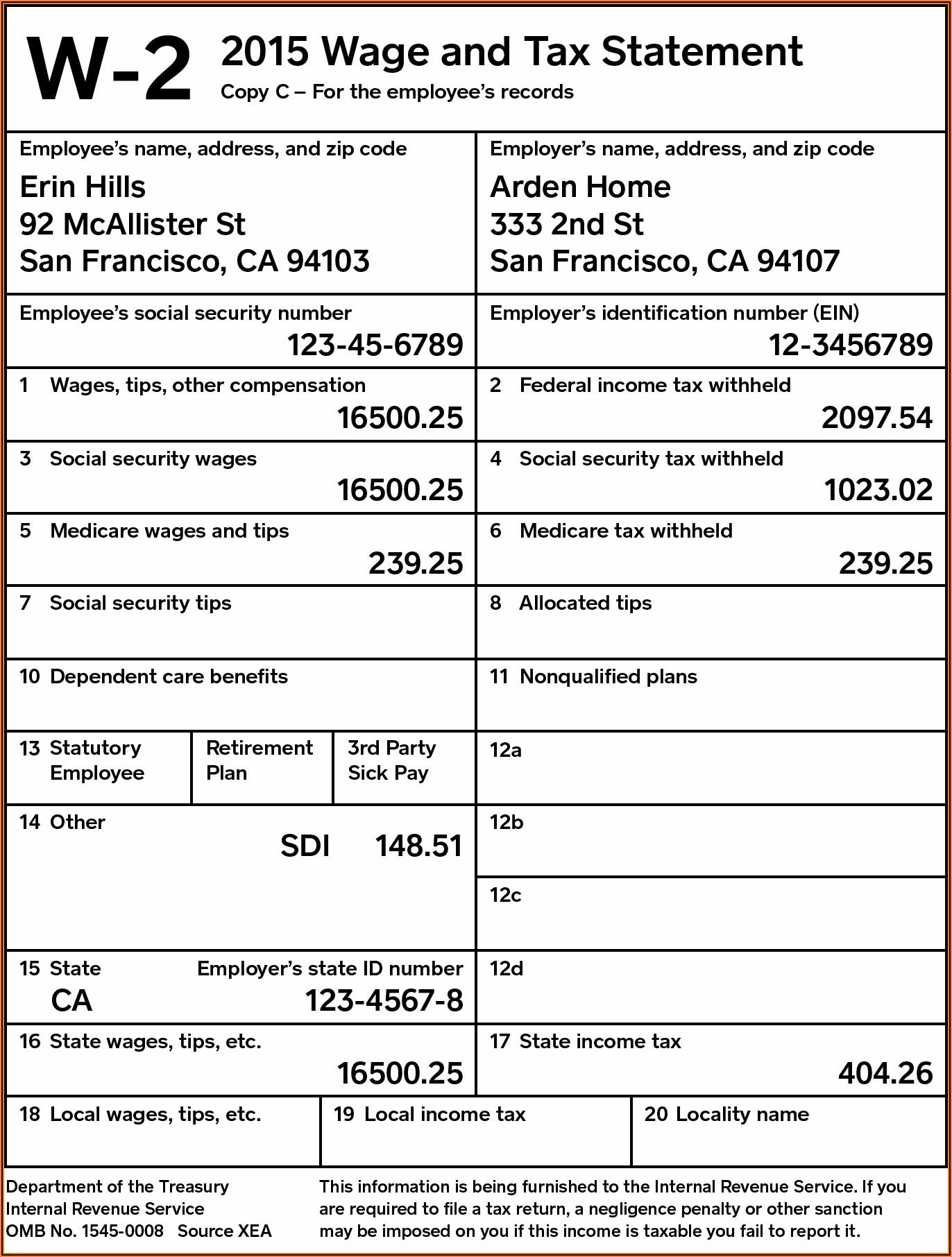 W2 Form California 2019