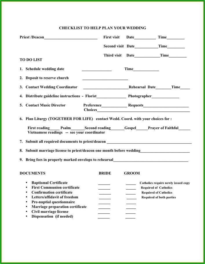 Wedding Checklist Template Pdf