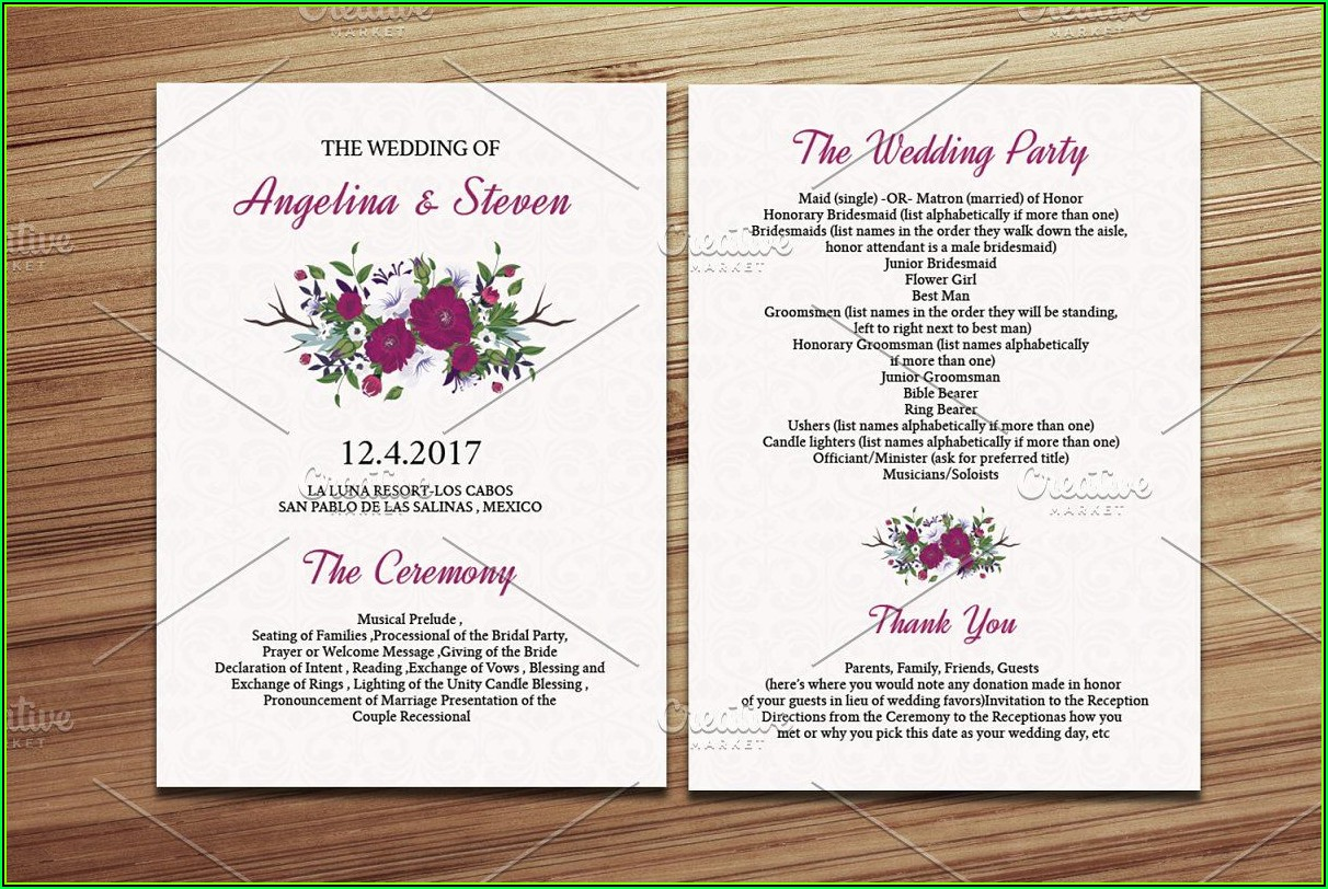 Wedding Fan Program Template Word
