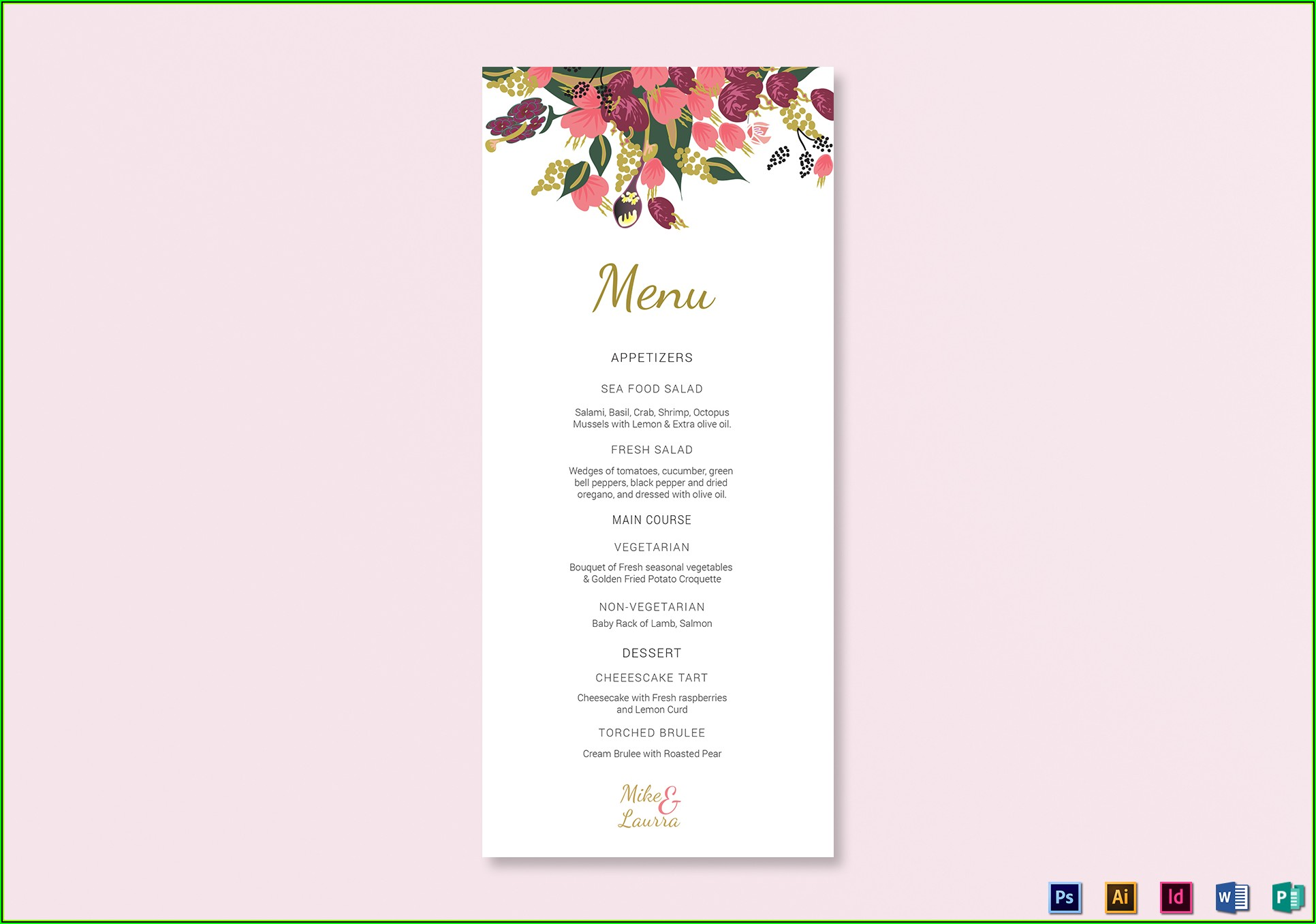 Wedding Menu Card Design Templates