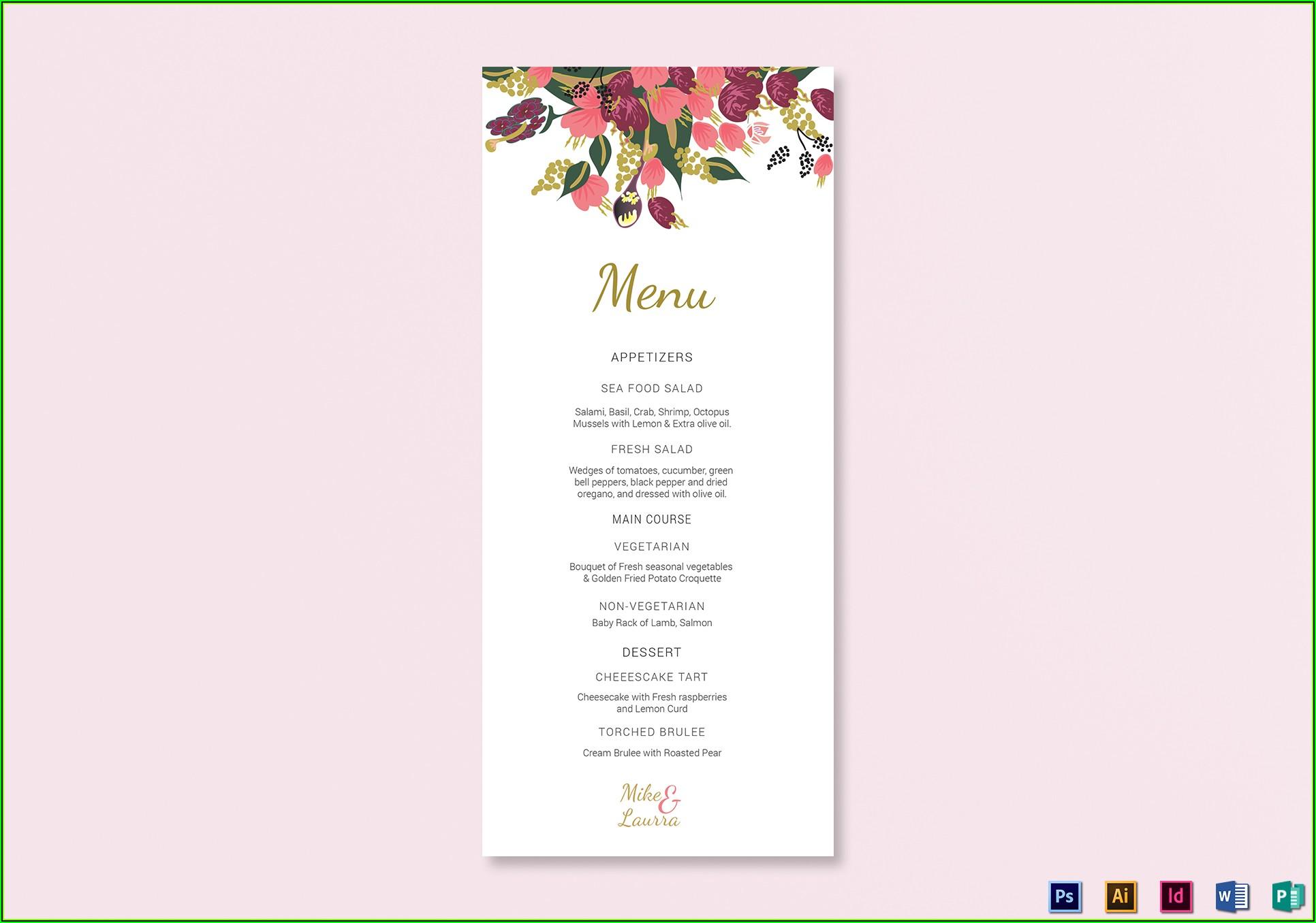 Wedding Menu Card Design Templates