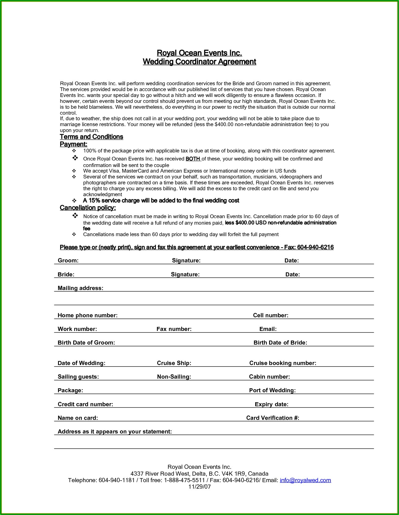 Wedding Planner Contract Sample Pdf