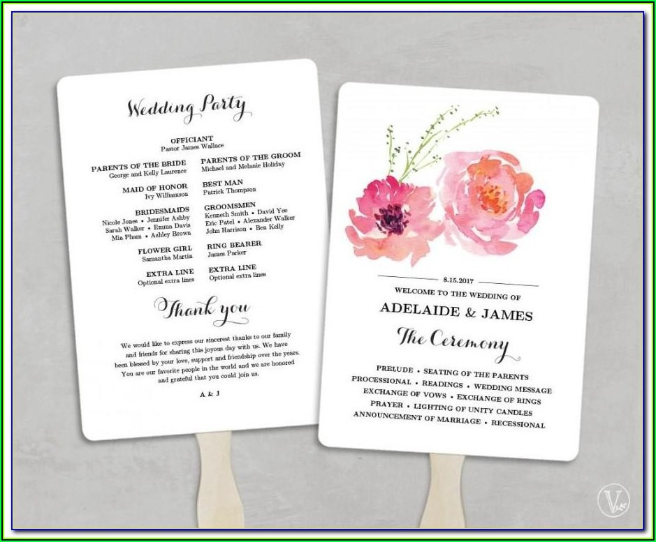 Wedding Program Fan Template Microsoft Word