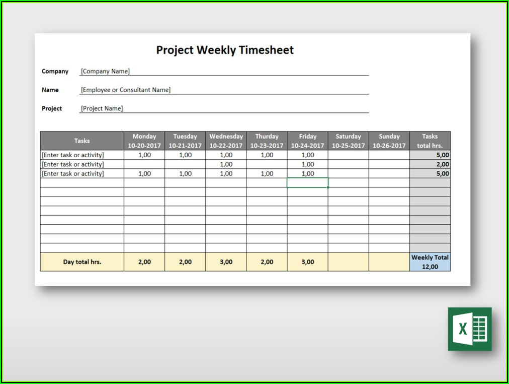 Weekly Project Timesheet Template Excel