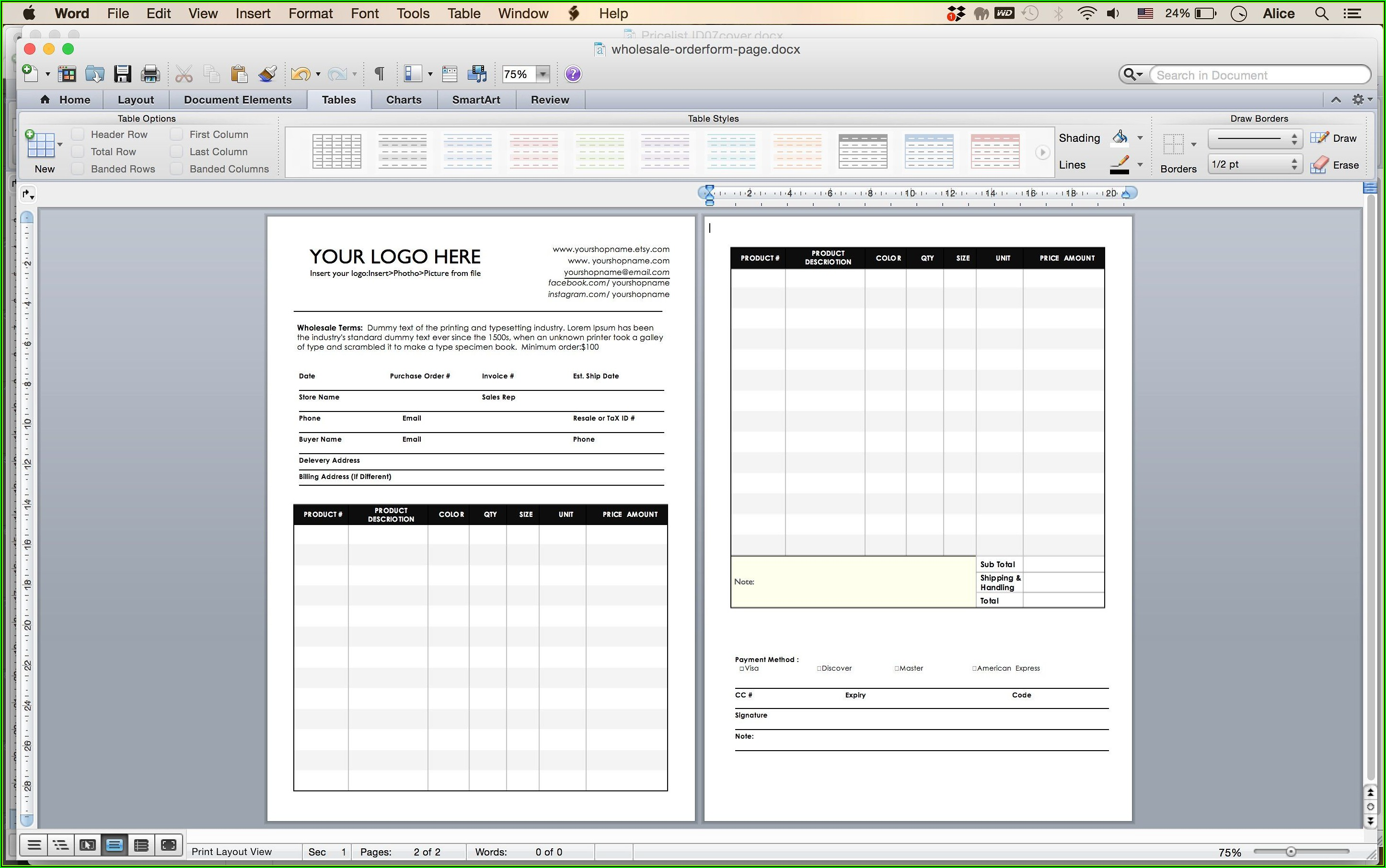 Wholesale Receipt Template