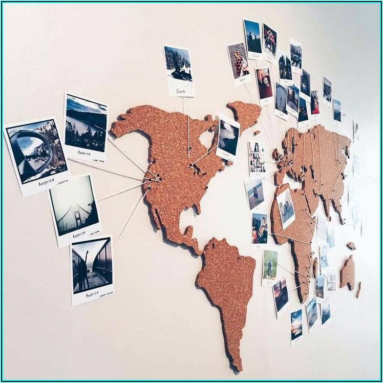 World Map On Cork Board