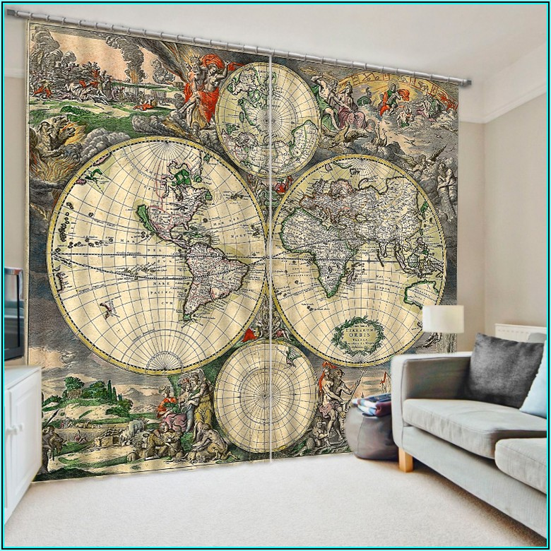 World Map Window Curtains