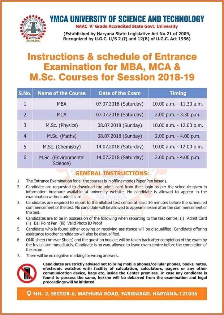 Ymca Faridabad Admission Form 2019
