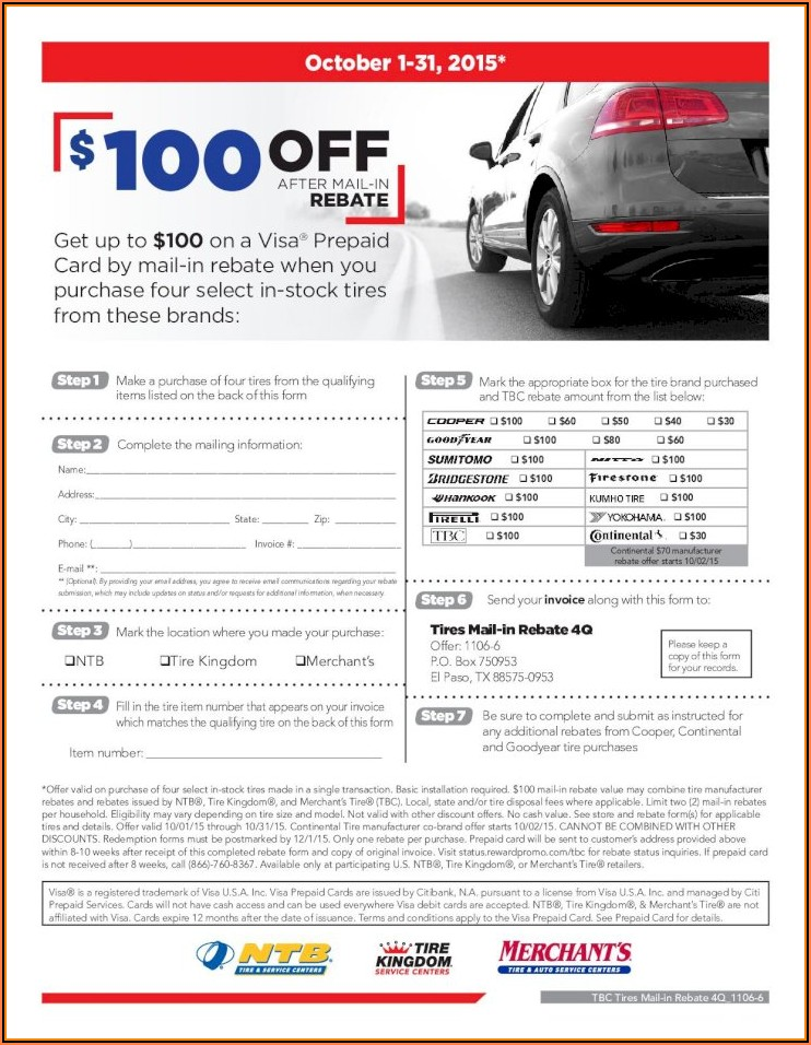 Yokohama Mail In Rebate Form