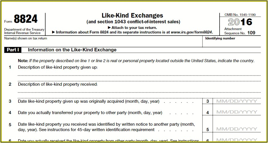 1031 Exchange Tax Forms
