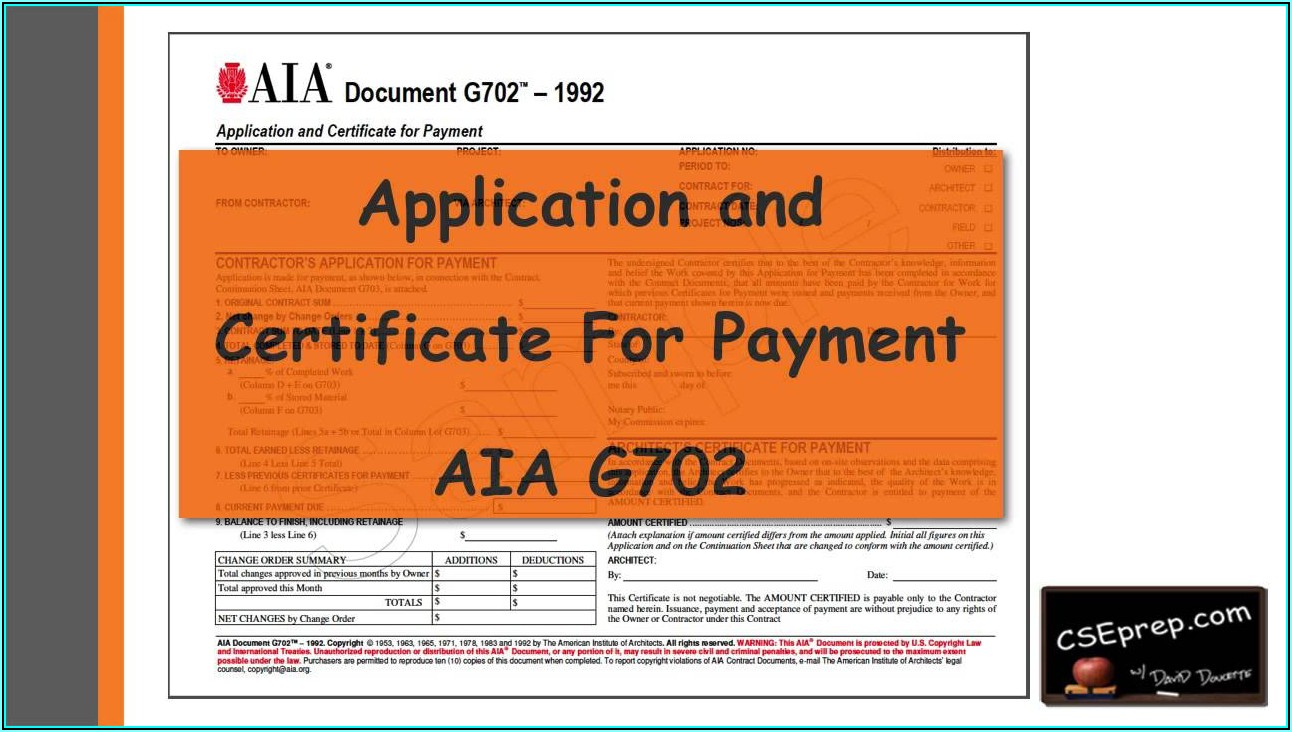 Aia Document G702 Application And Certificate For Payment