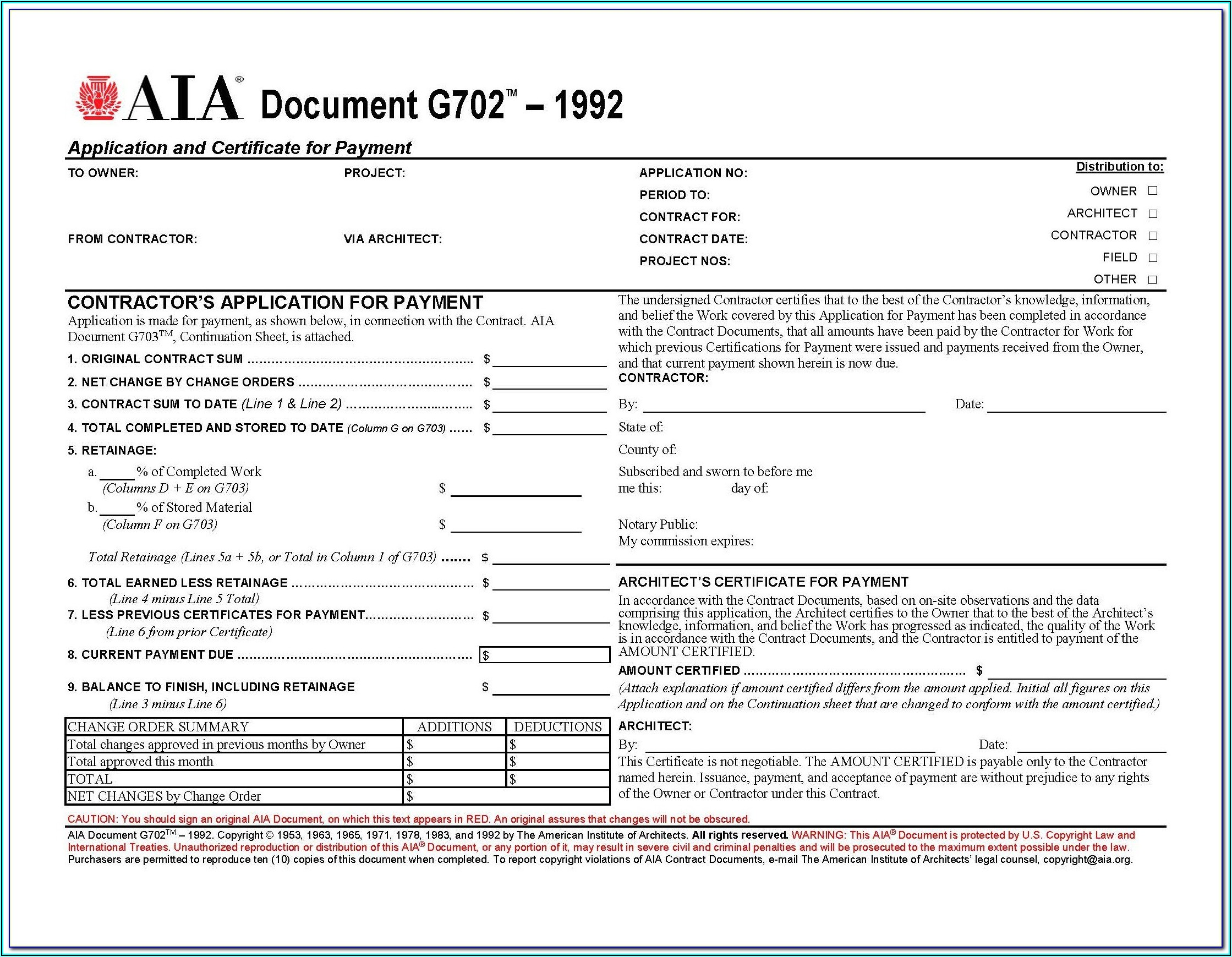 Aia Forms G702 Application And Certificate For Payment
