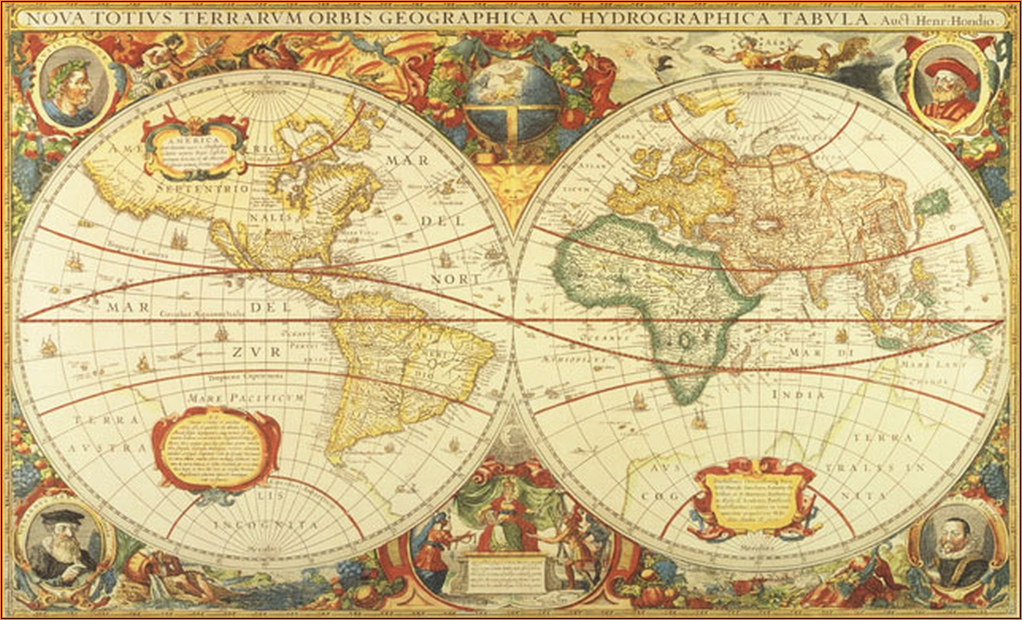 Antique World Map Wall Mural