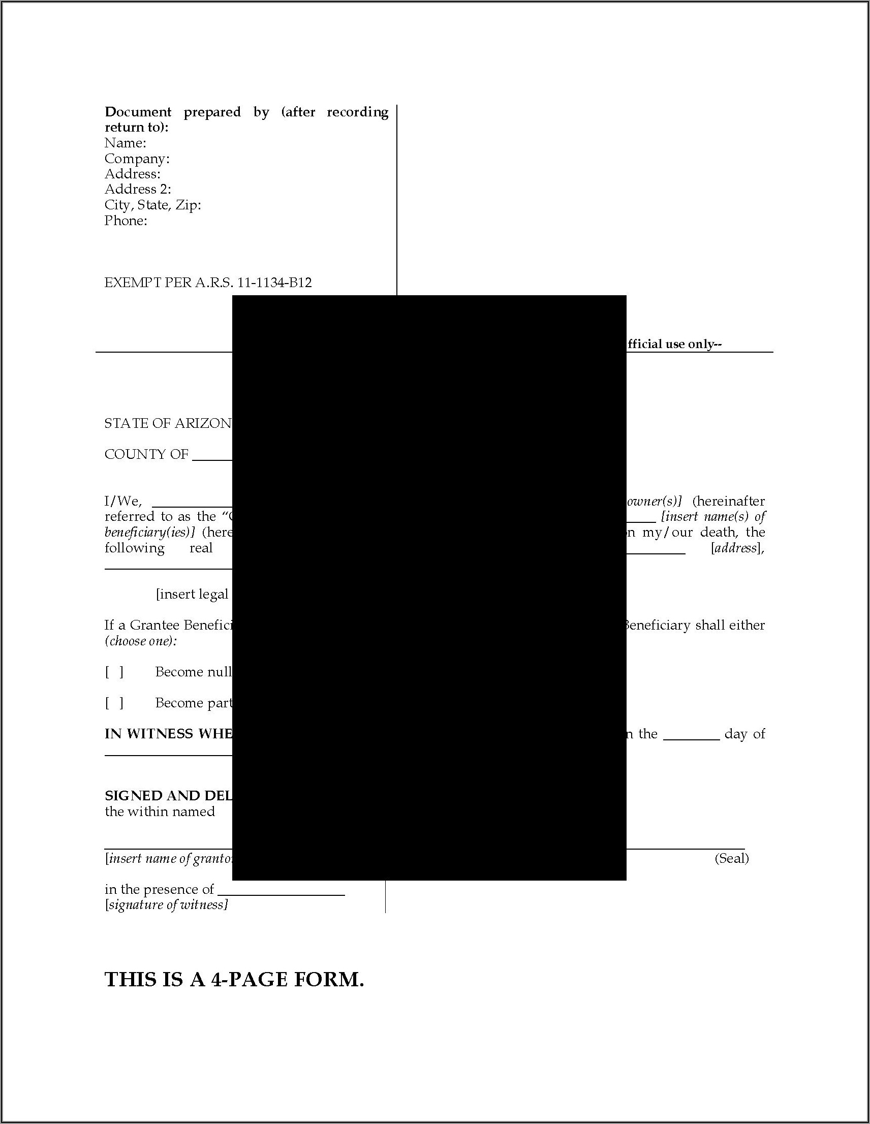 Arizona Beneficiary Deed Form Pdf