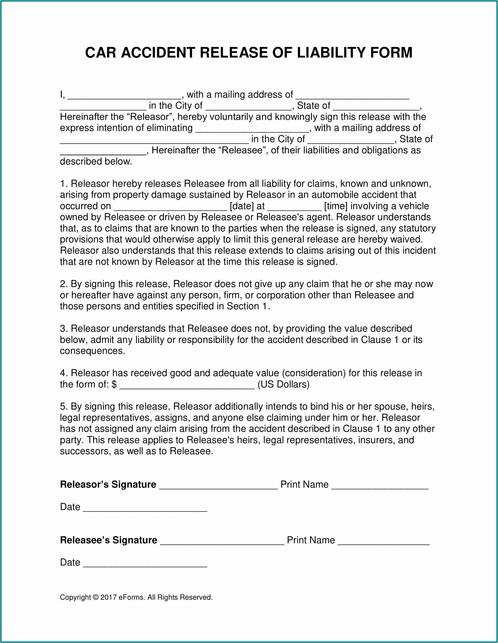 Auto Accident Release Form Pdf