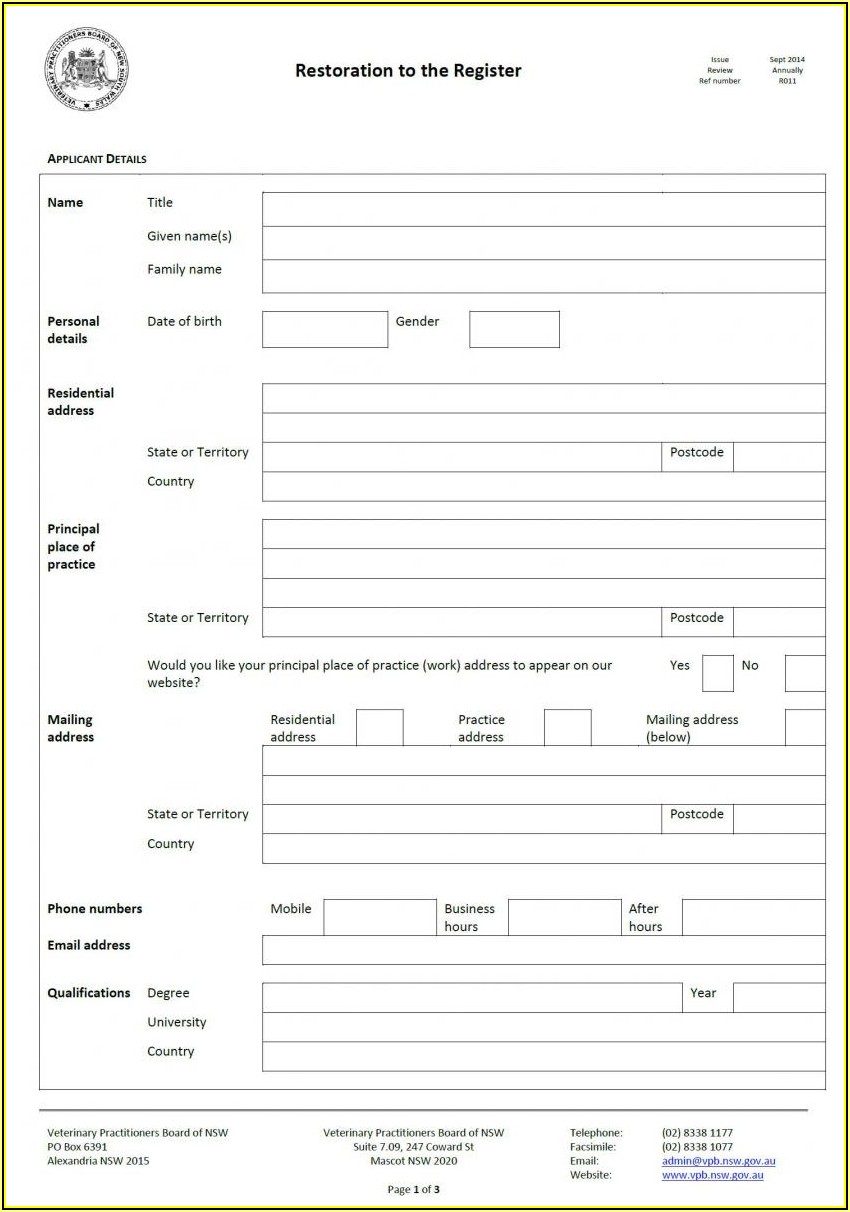 Birth Certificate Replacement Form Nsw