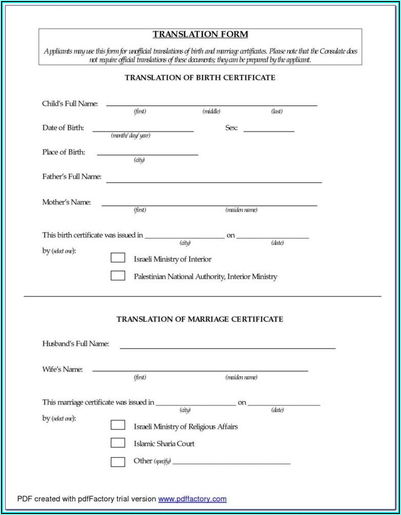 Birth Certificate Translation Form