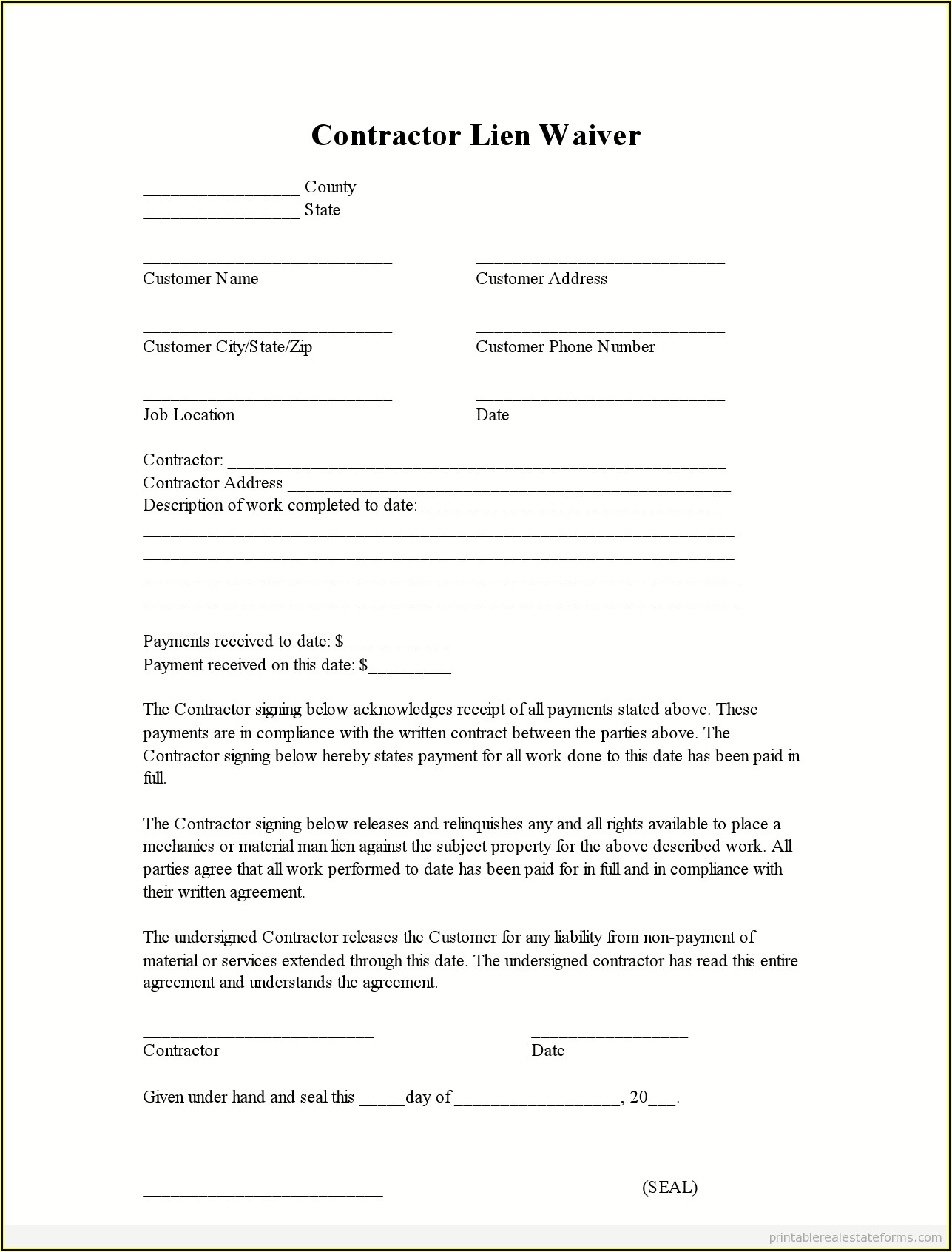 Birthday Party Waiver Form