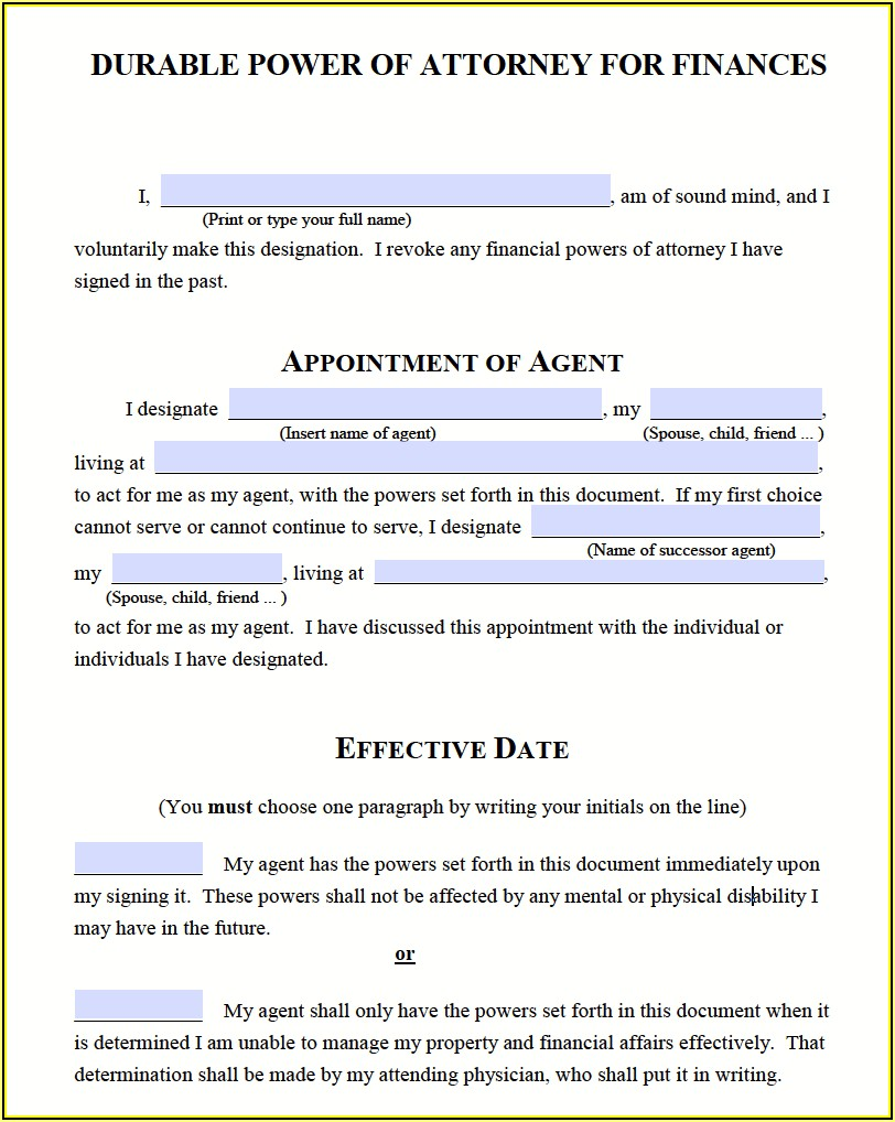 Blank Durable Power Of Attorney Form Michigan