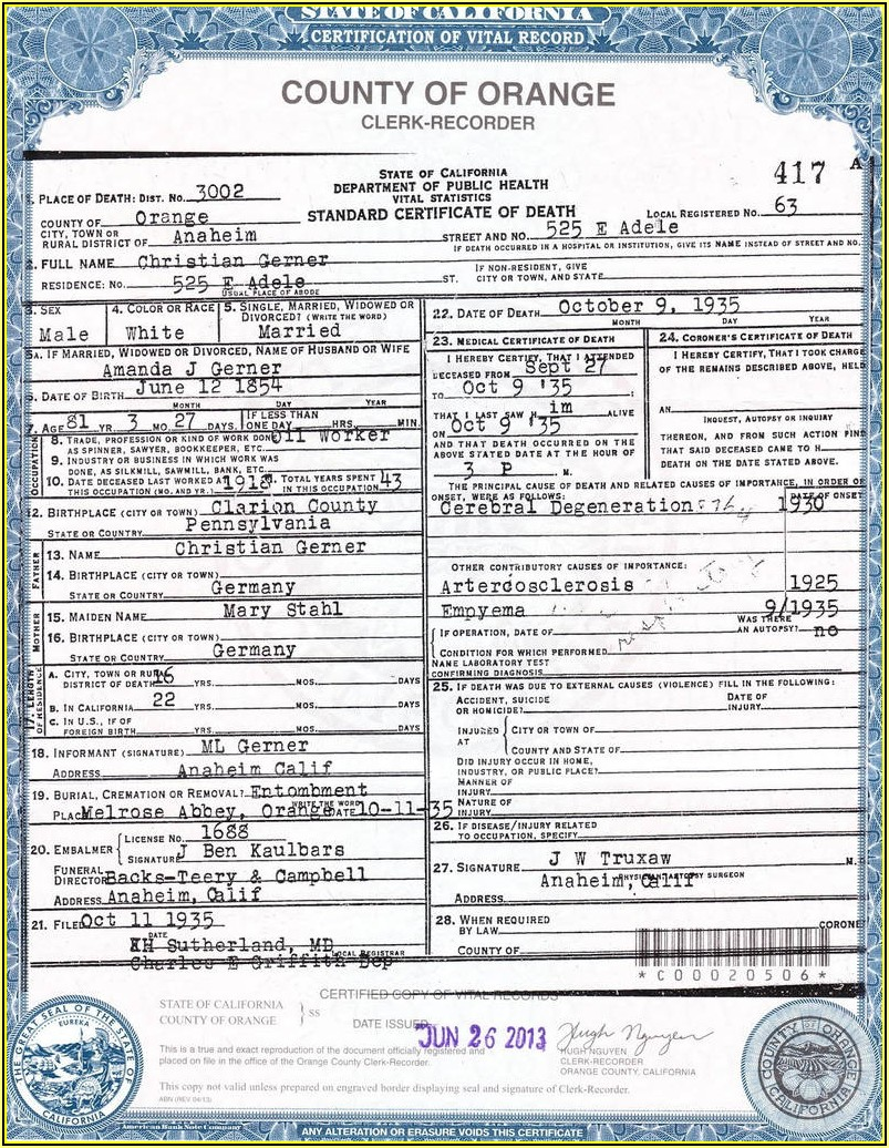 California Birth Certificate Replacement Form