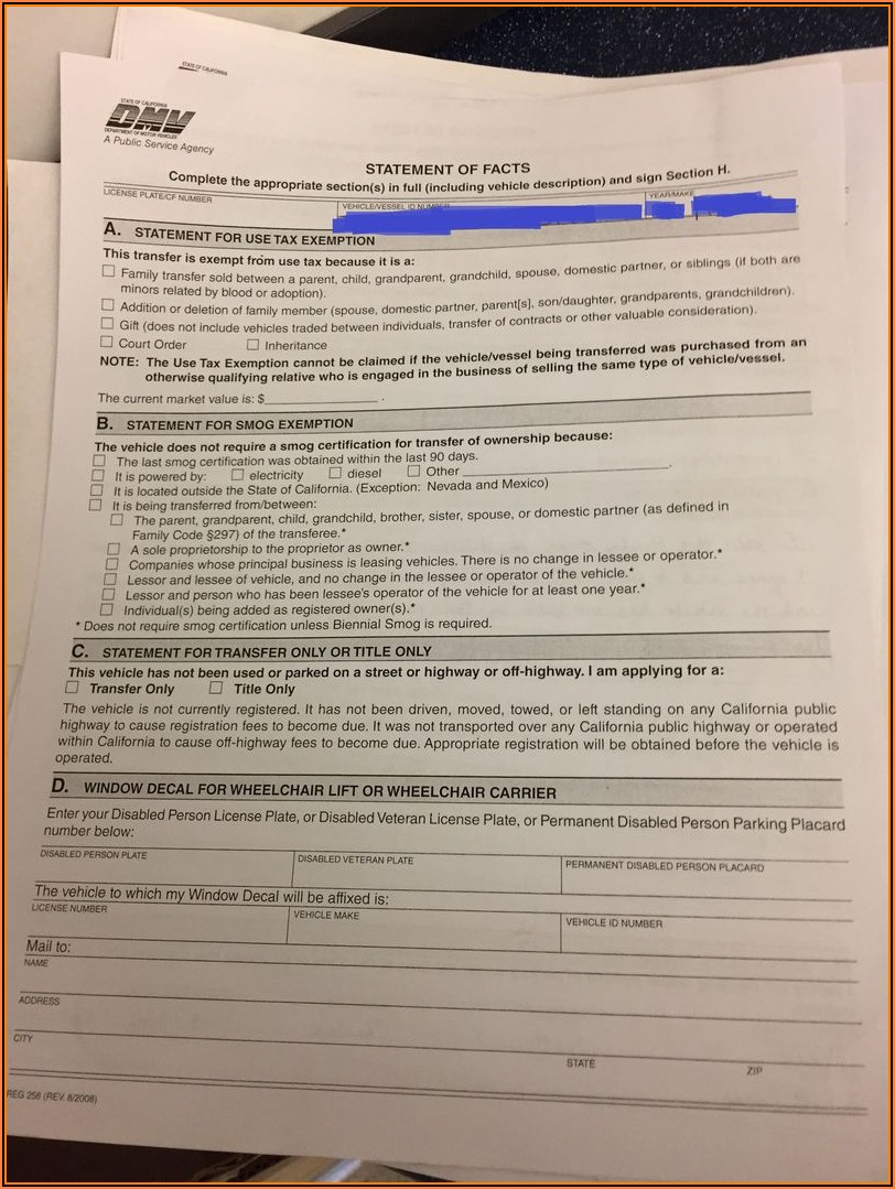 California Dmv Registration Form 256