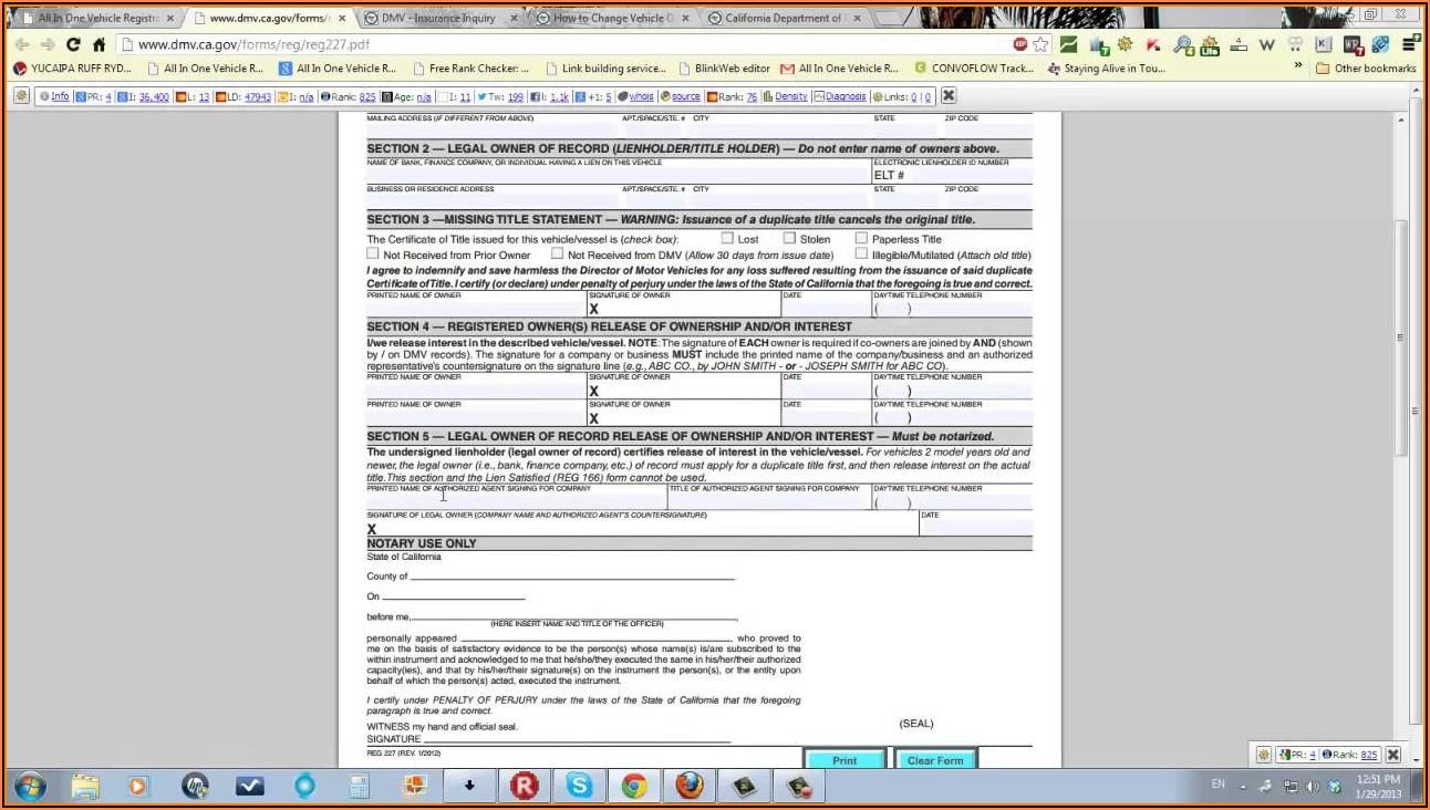 California Dmv Registration Form 343