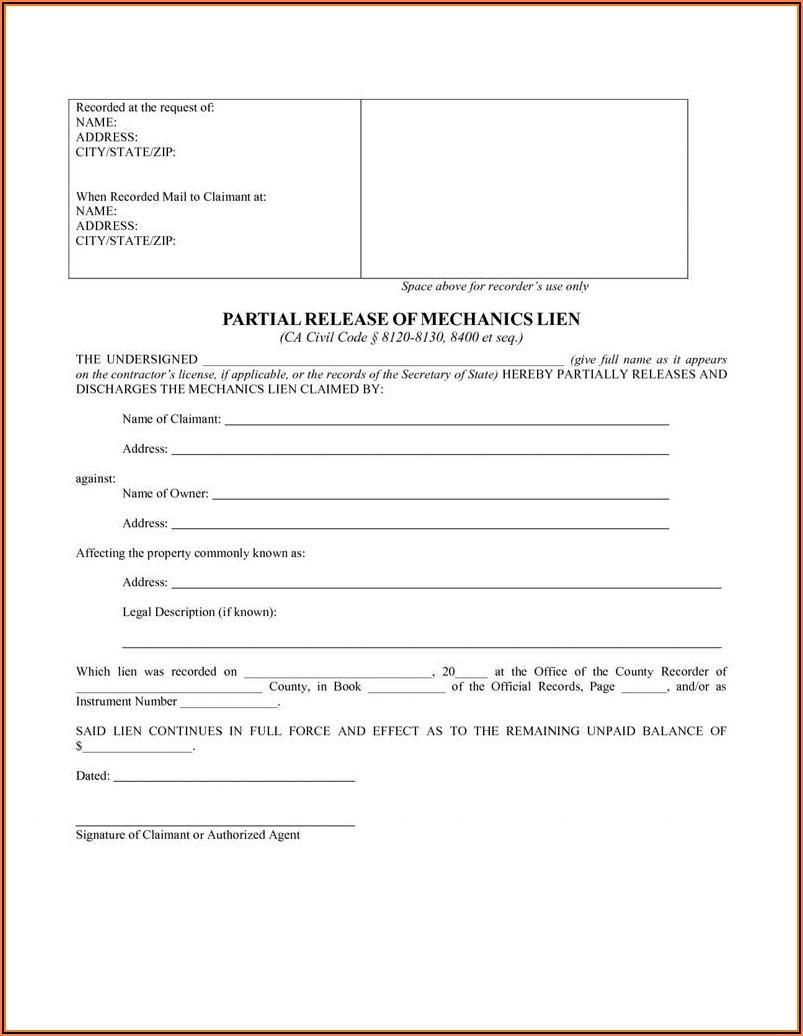 California Mechanics Lien Form 2014