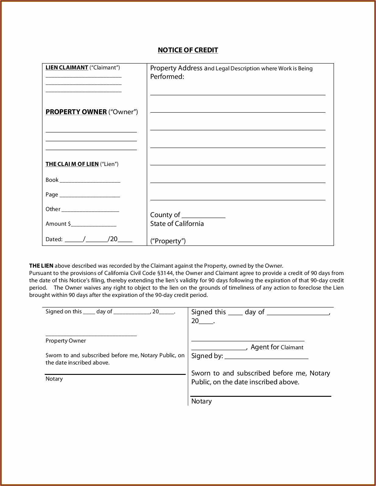 California Mechanics Lien Form 2020
