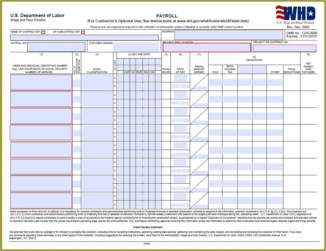 Certified Payroll Forms Excel Format Free