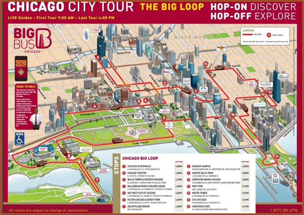 Chicago Hop On Hop Off Bus Tour Map