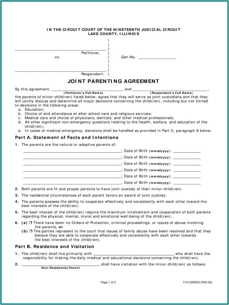 Child Custody Agreement Form Illinois