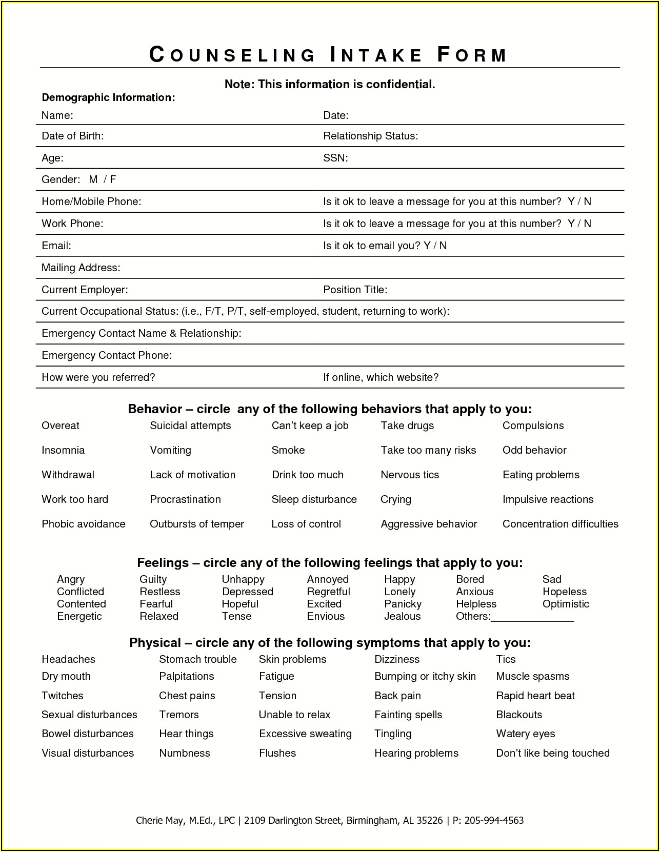 Client Intake Form For Psychotherapy