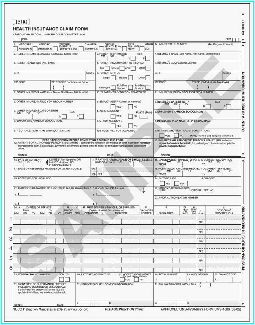 Cms 1500 Claim Form Download Free