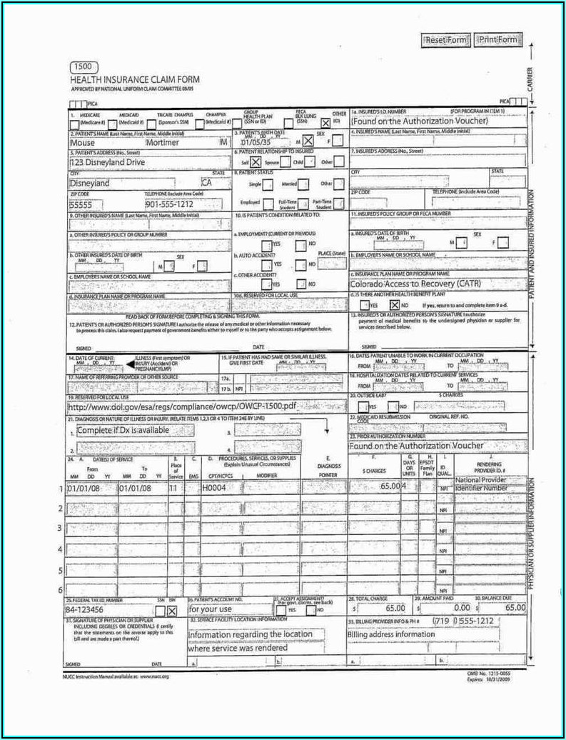 Cms 1500 Claim Form Download