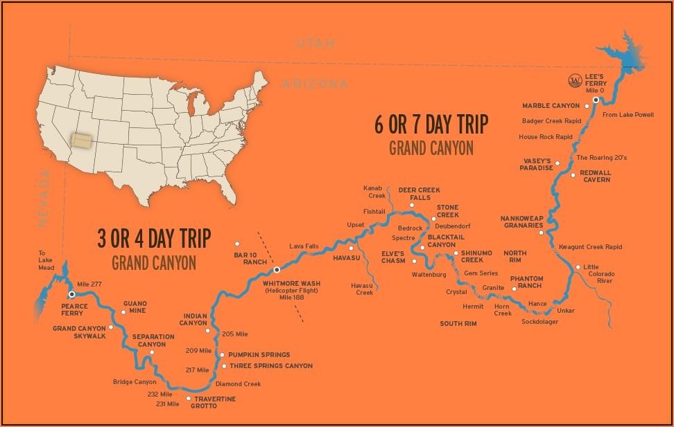 Colorado River Grand Canyon Rapids Map