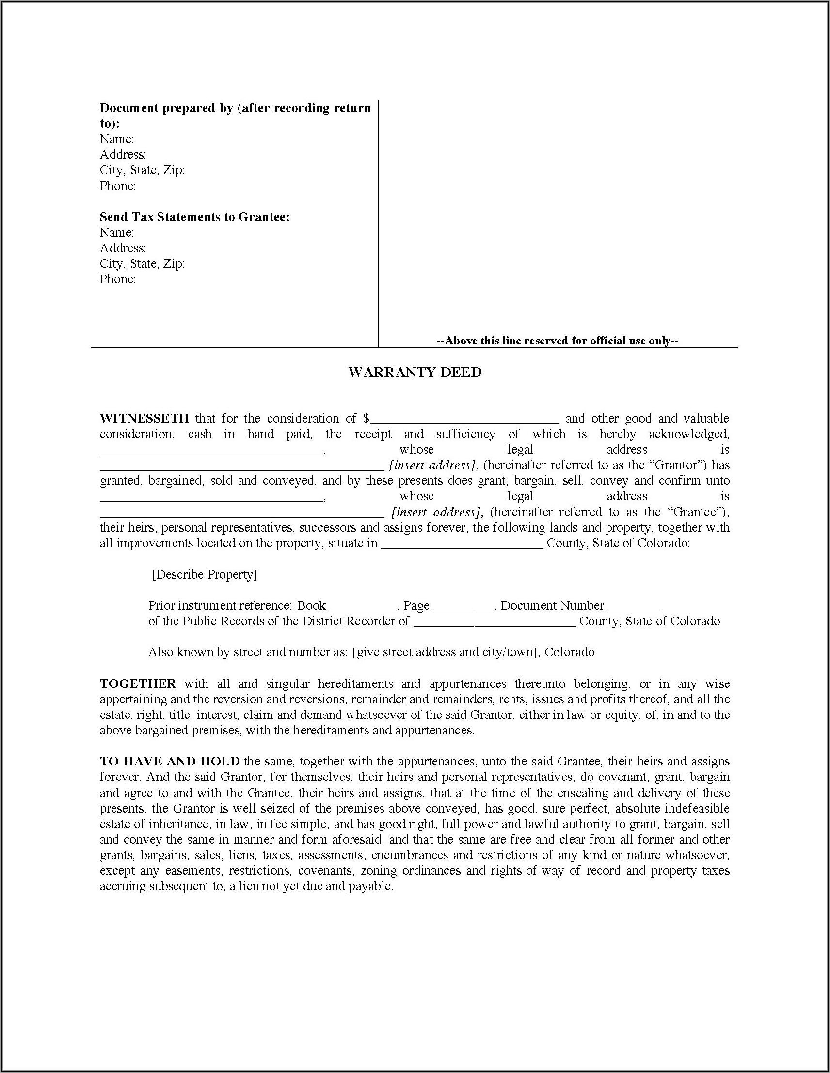 Colorado Special Warranty Deed Form