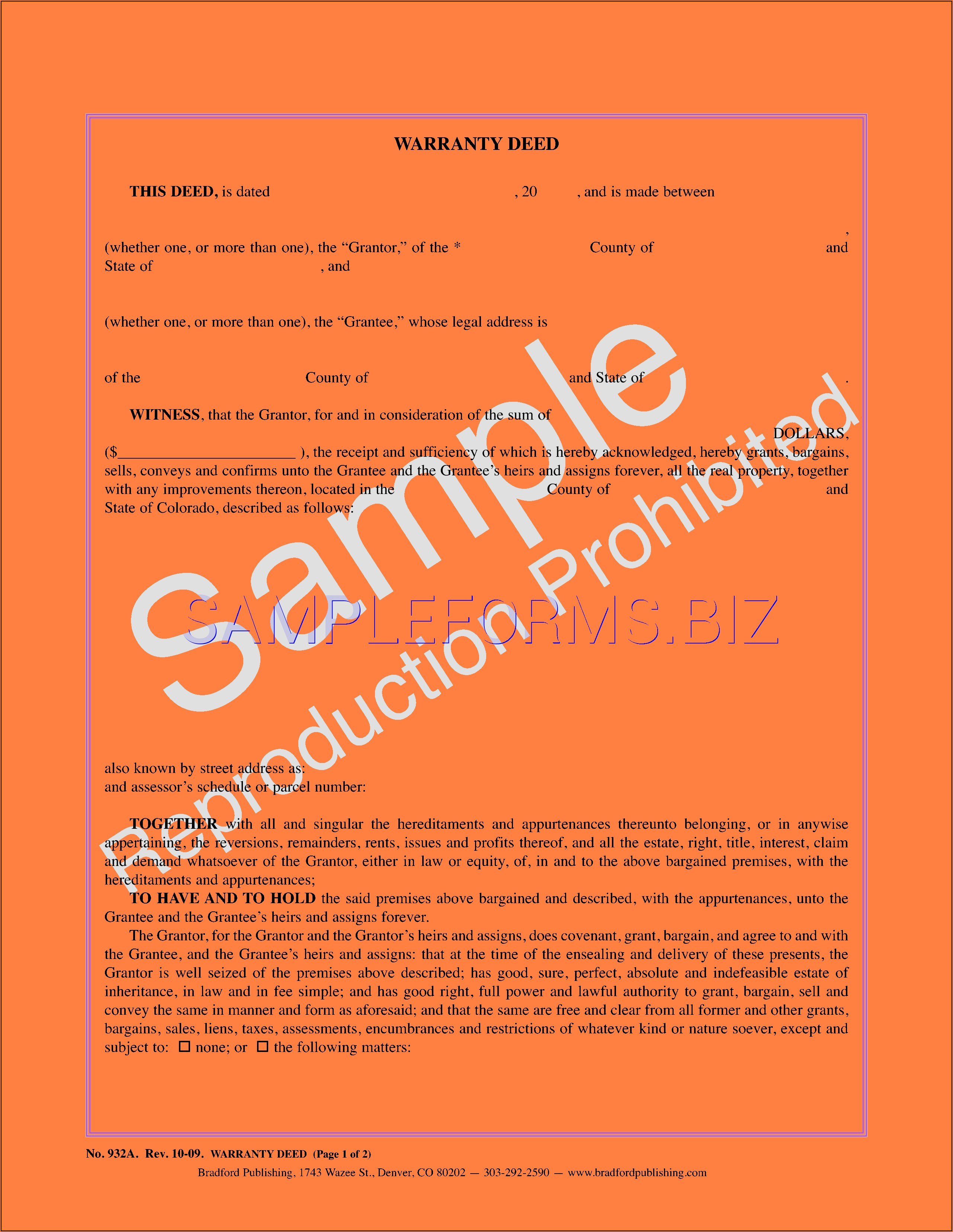Colorado Statutory Warranty Deed Form