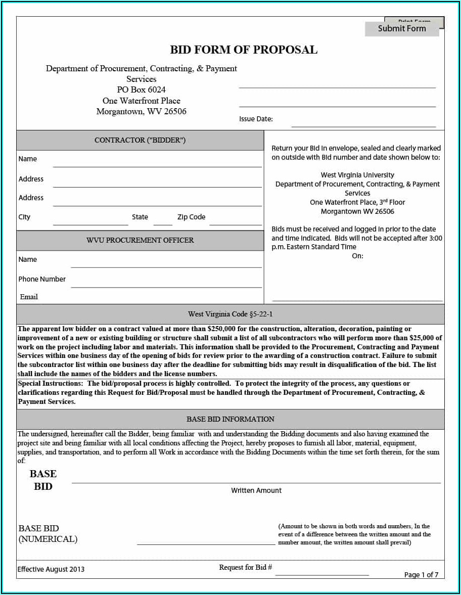 Construction Bid Form Excel