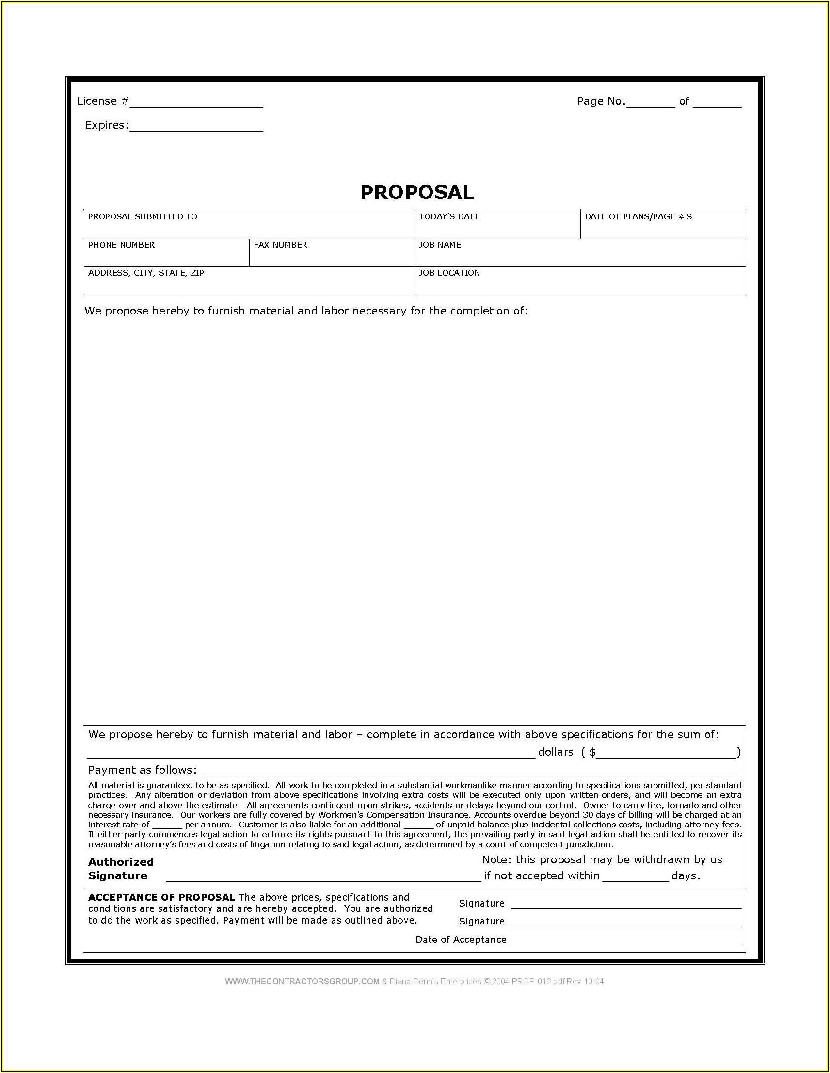 Contractor Bid Forms Free