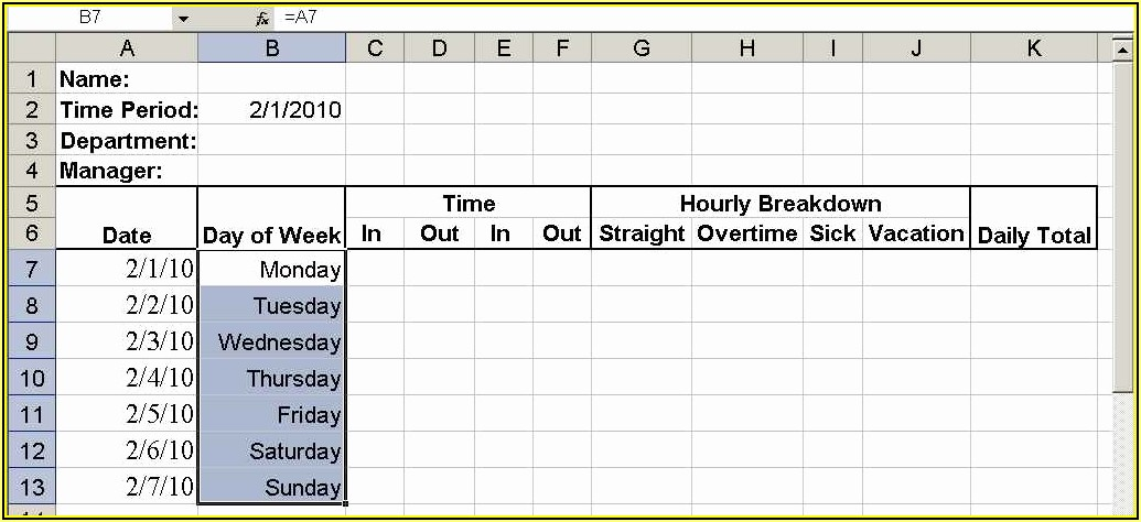 Daily Time Sheet Format
