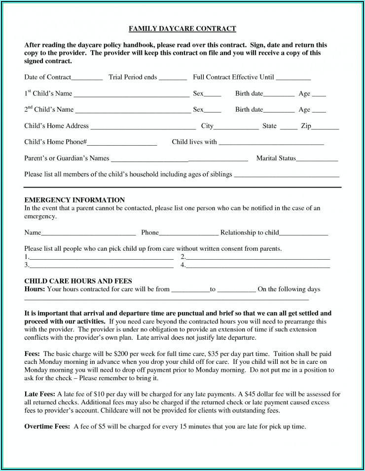 Daycare Enrollment Form Texas