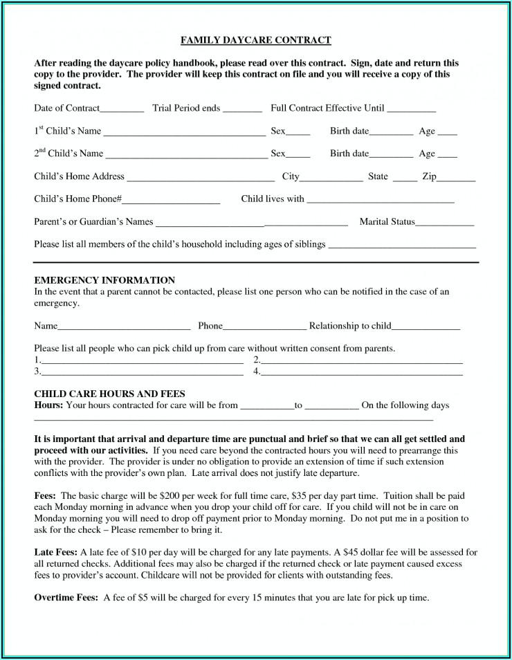 Daycare Enrollment Form Texas