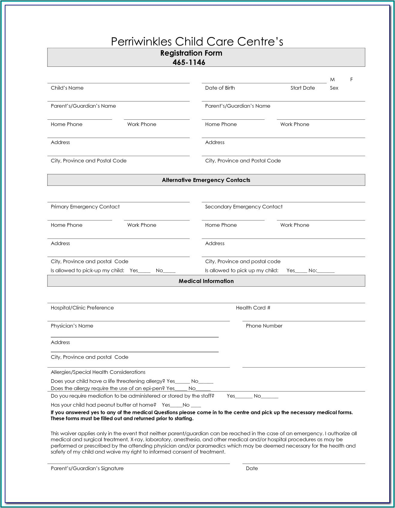 Daycare Enrollment Forms