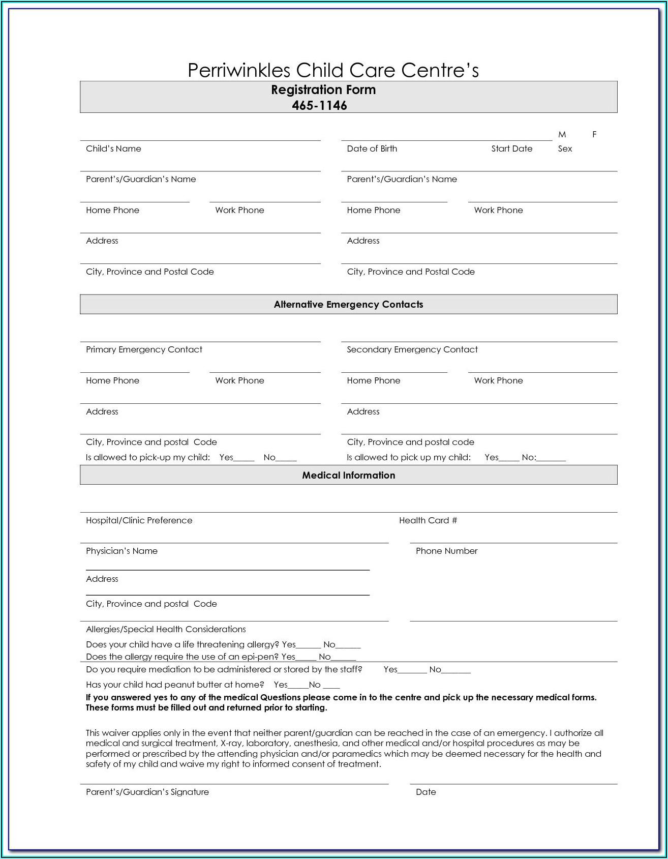 Daycare Enrollment Forms