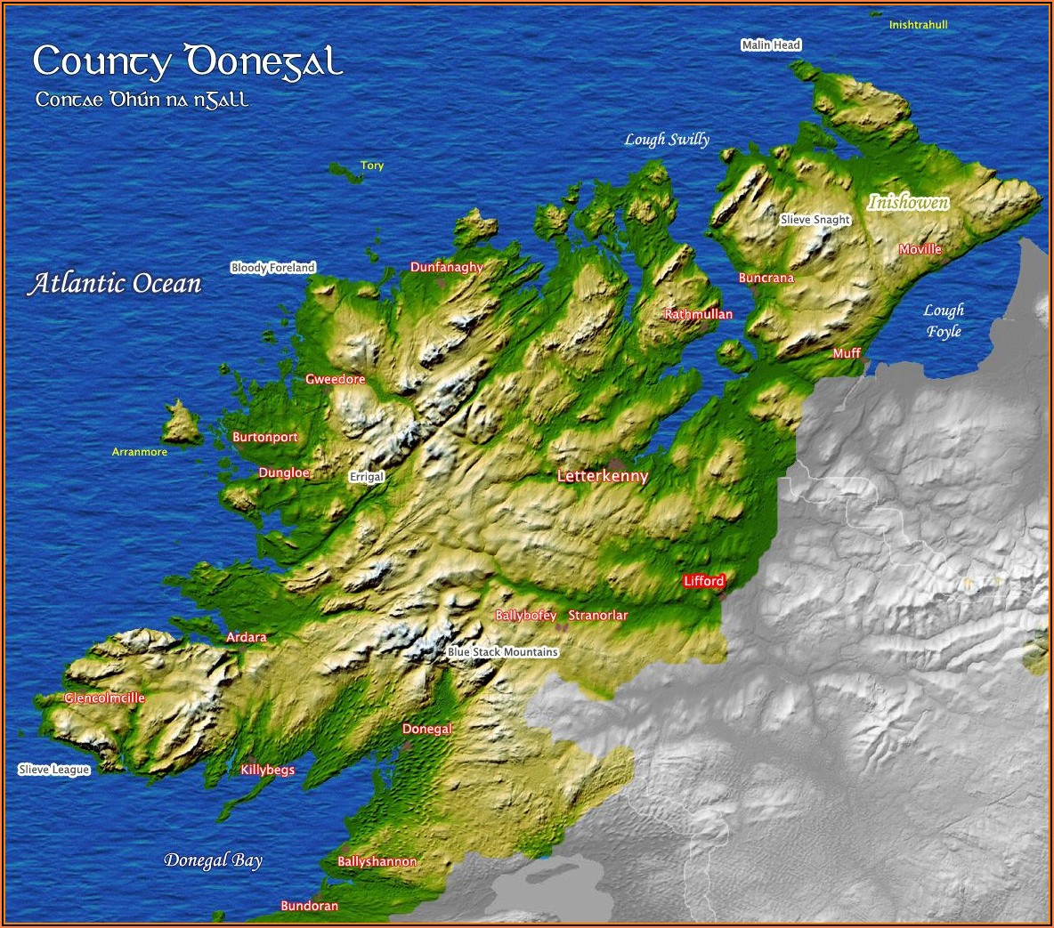 Detailed Map Of County Donegal Ireland