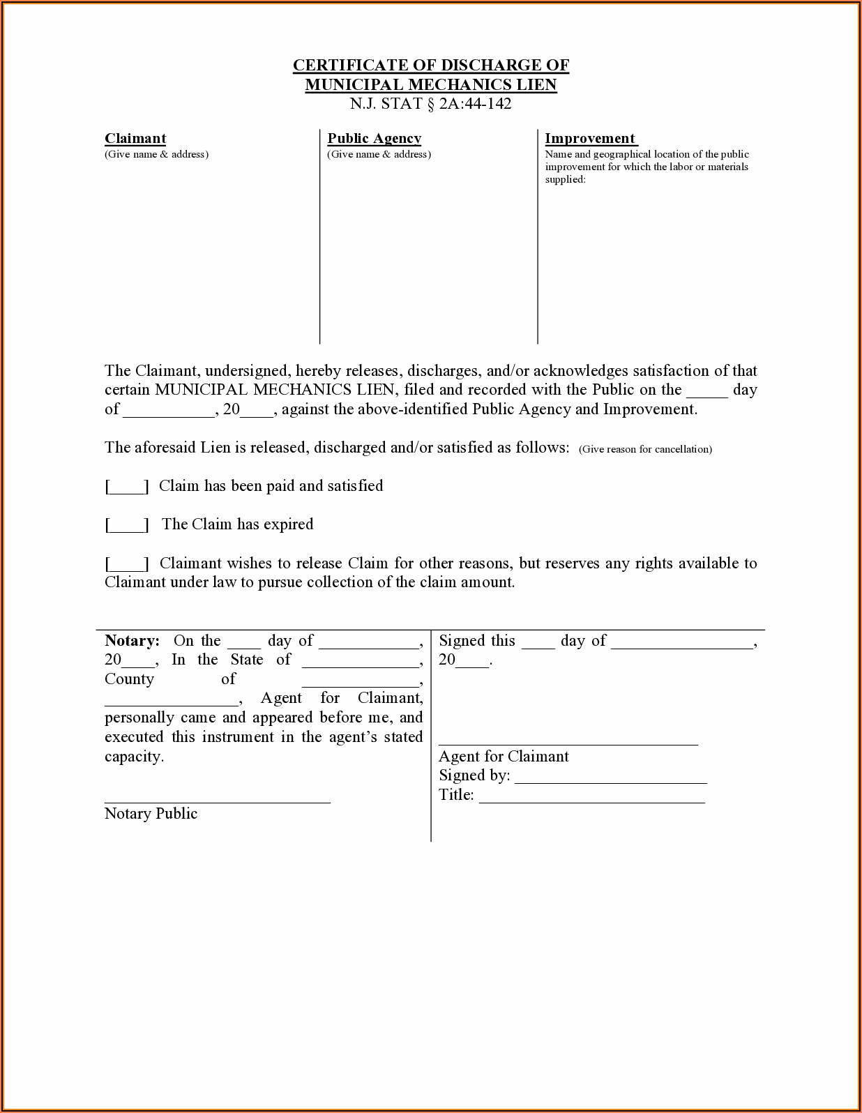 Discharge Of Mortgage Form Nj