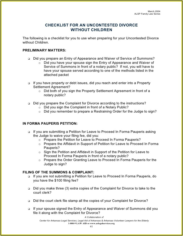 Divorce Final Judgement Packet